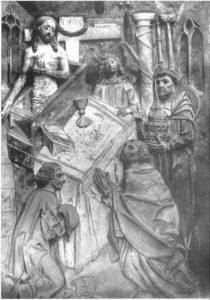 Grabstein für Georg Fischer († 1505), Darstellung der Gregormesse