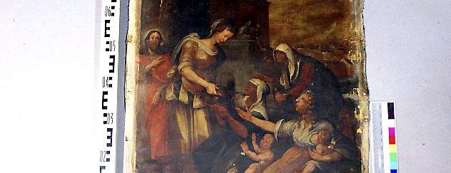 """Restaurierung vom Adelsstand in der Oberkirche in Arnstadt. Hier: """"Die Werke der Barmherzigkeit - die Hungrigen speisen"""". Foto: Verein Oberkirche"""