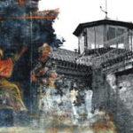 Fragment eines Bildes aus der Oberkirche zum Thema Barmherzigkeit, Gefangene trösten. Für die aktuelle Veranstaltung wurde es verbunden mit einem Gefängnisturm aus Ichtershausen. Collage: Hans-Georg Rupp