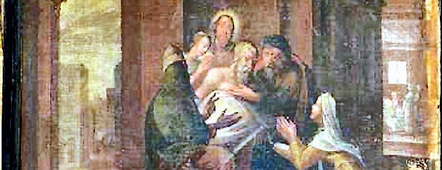 """""""Die Kranken besuchen"""" heißt dieses Bild, welches in der Brüstung des Adelsstands befestigt war und nun restauriert werden soll. Foto: TA Arnstadt"""