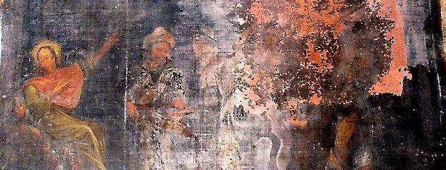 """""""Die Gefangenen trösten"""" heißt dieses Bild aus der Brüstung des Adelsstandes. Es ist eines der am meisten geschädigten Bilder. Foto: Repro"""