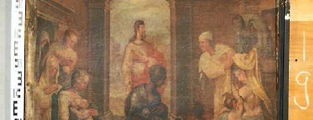 """""""Die Werke der Barmherzigkeit - die Nackten kleiden"""" ist der Titel dieser Bildtafel aus dem Adelsstand der Oberkirche. Repro: TA Arnstadt"""