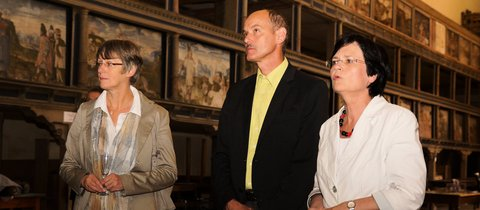Superindentendin Angelika Greim-Harland und Landtagskandidat Jörg Thamm begleiteten Christine Lieberknecht bei ihrem Rundgang © Kerstin Engelmann