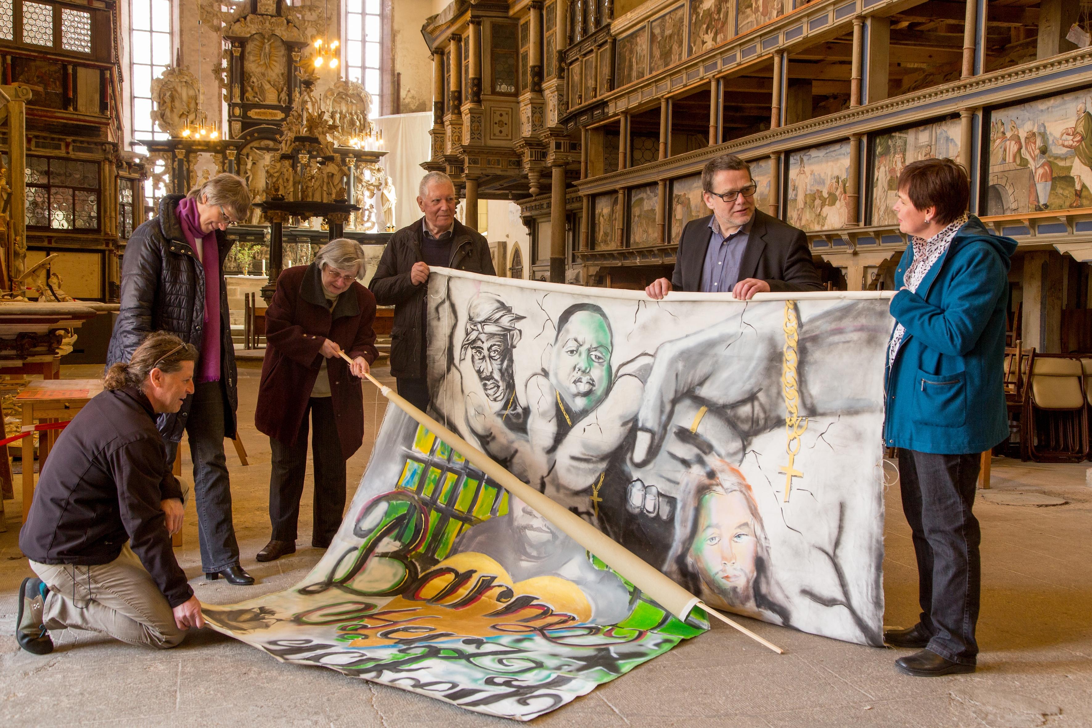 Banner, die anlässlich des Perspektivenwechsels 2014 von Häftlingen der JVA Ichtershausen gestaltet wurden, Foto: Ines Escherich
