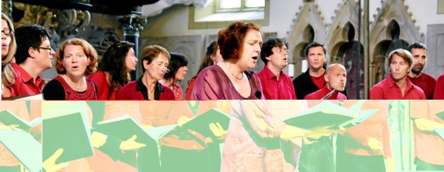 """Der Jenaer Gospelchor """"black feet, white voices"""" gastierte am Sonntag in der Oberkirche in Arnstadt und gab hier ein Benefizkonzert für Flüchtlingsarbeit und Kirchenasyl. Foto: Christoph Vogel"""
